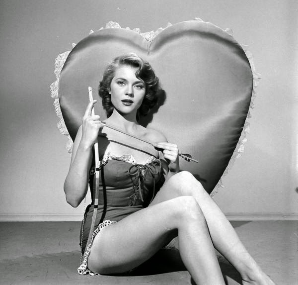 Peggie Castle in a LOOK Magazine Valentine's Day Spread, ca. 1950s (1)