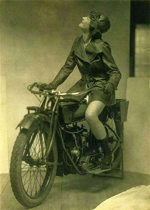 Eileen Percy on an Indian Motorcycle in an Ad for Fox Shoes, ca. 1920s