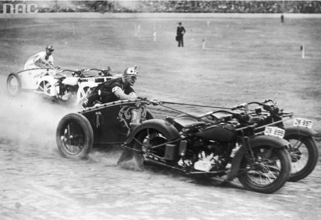 Motorcycle chariots celebrating New South Wales police, Australia, 1936