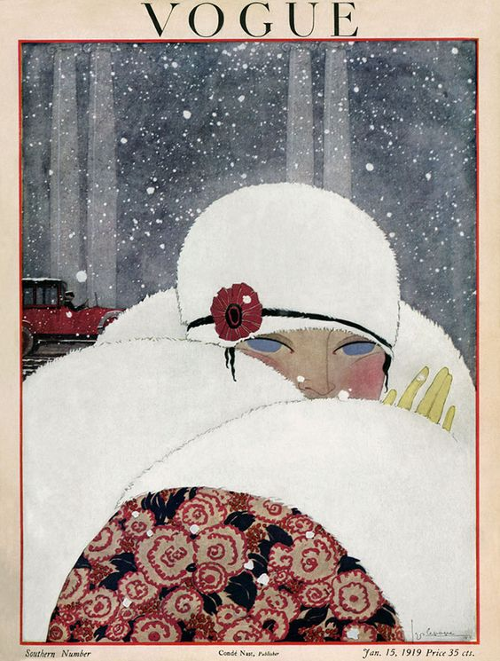 Illus. of woman in white fur hat with her face half hidden by white fur collar during snow fall - SOUTHERN NUMBER
